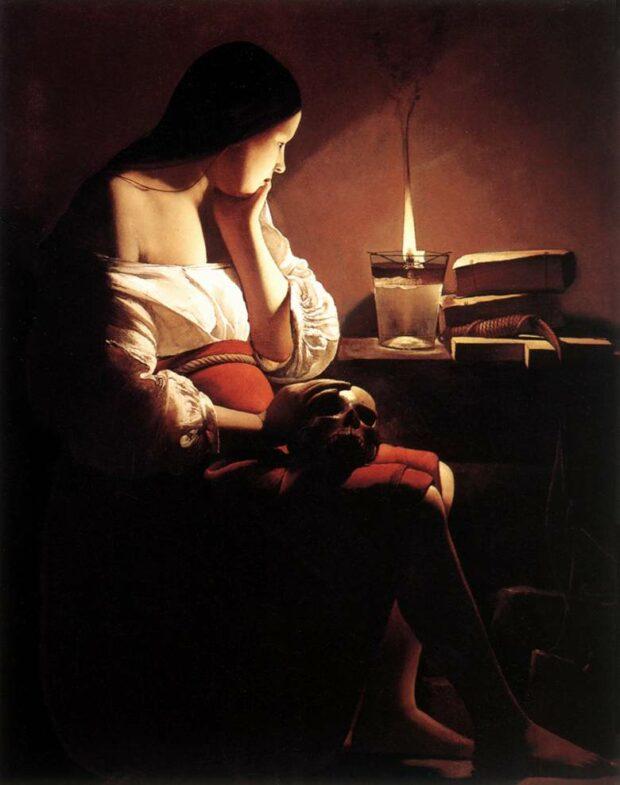 La Madeleine à la flamme filante, Georges de la Tour, vers 1638-1640, Musée d'art du comté de Los Angeles, Los Angeles, USA